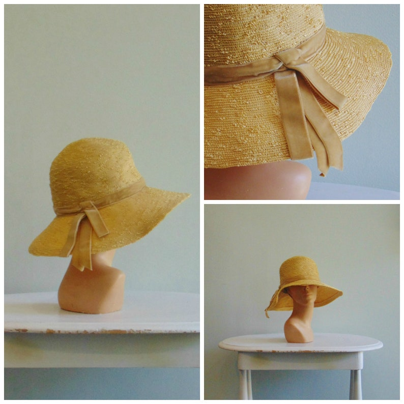 73a900e9f 1970's Straw Floppy Hat / Sun Hat