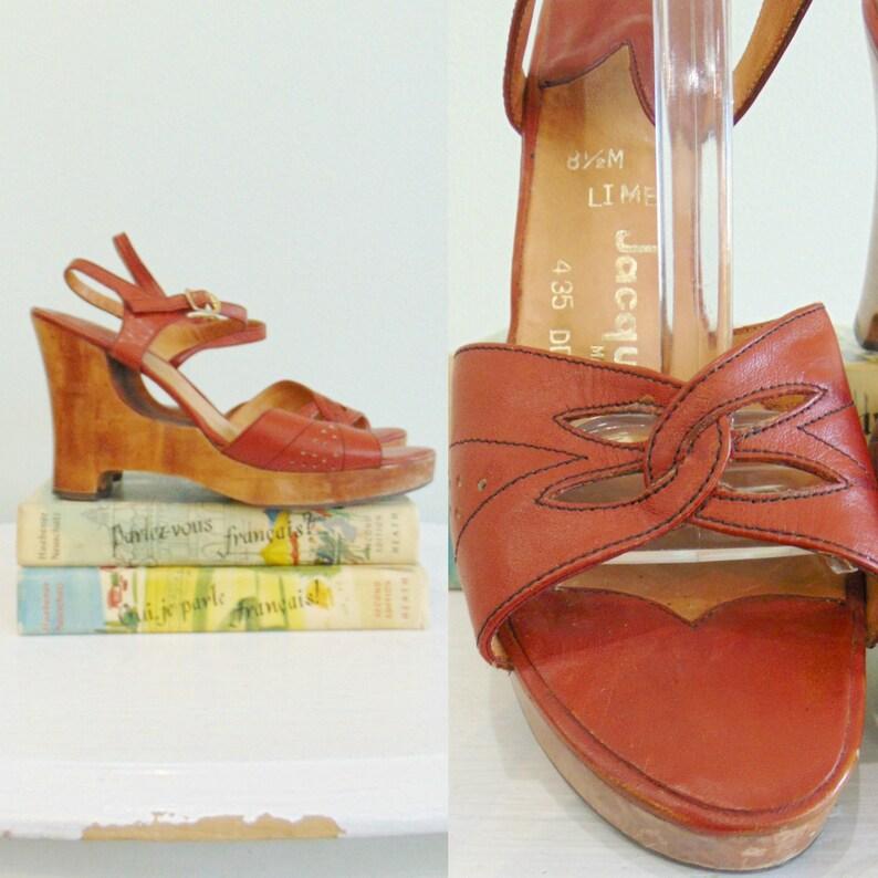 Vintage 1970's Wedge Sandals / Cognac Leather  / Wood Heel image 0