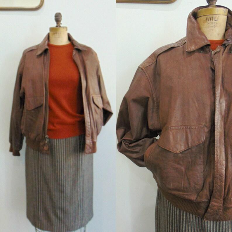 Vintage 1980's Brown Leather Jacket / Bomber Jacket / image 0