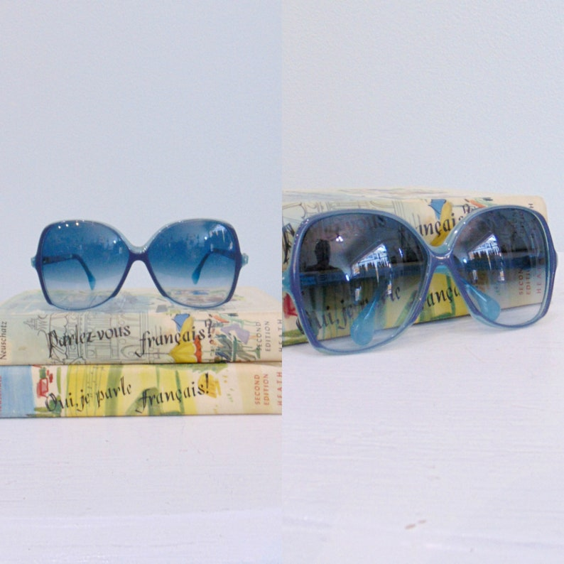 Vintage 1980's Large Frame Blue Sunnies / Retro Square image 0