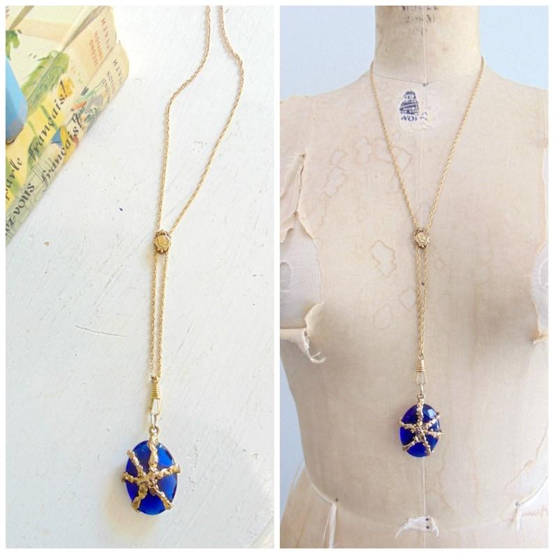 Vintage Blue Gem Pendant / Gold Tone Chain / Gold Webbing / image 0