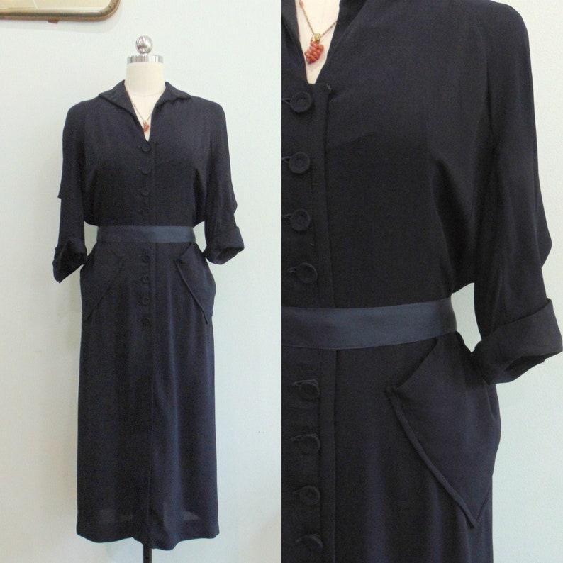 Vintage 1940's Navy Drape Dress / Pin Tucking / Gathered image 0