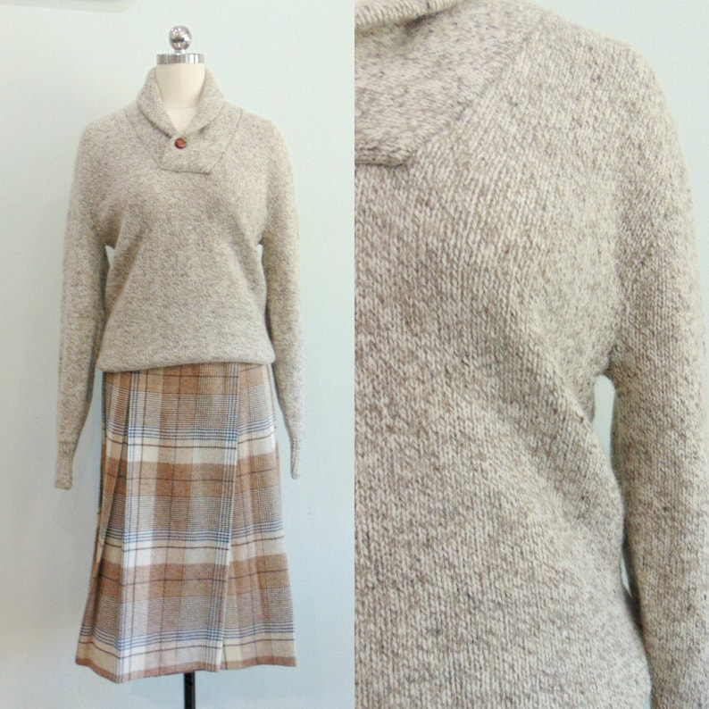 Vintage 1980's Oatmeal Sweater / Pull Over / Shawl Collar image 0