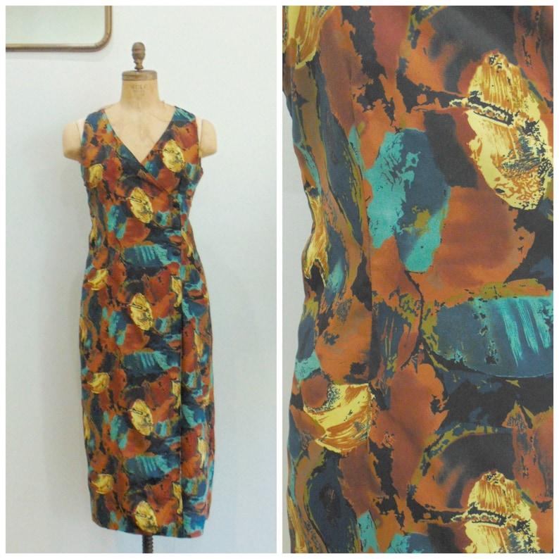 Vintage 1990's Wrap Dress / Abstract Print / Sleeveless image 0