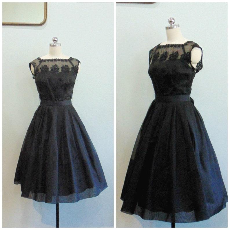 Vintage 1950's Elinor Gay Dress / Black Floral Sheer image 0