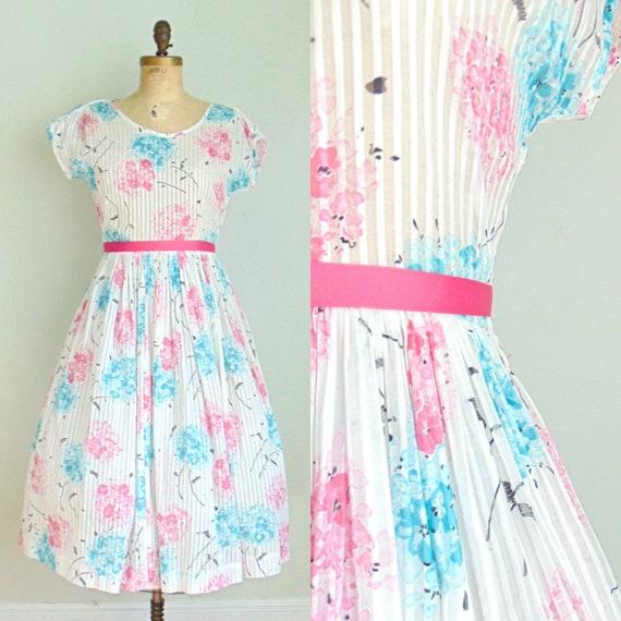 Vintage 1960's Floral Sheer Stripe Dress / Hydrang