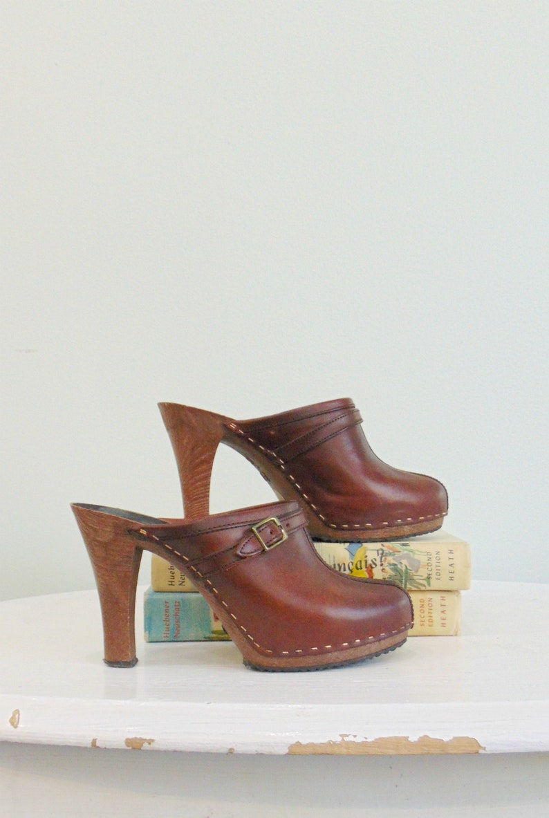 Vintage 1970's Platform Mules / Leather / Made in Brazil / image 0