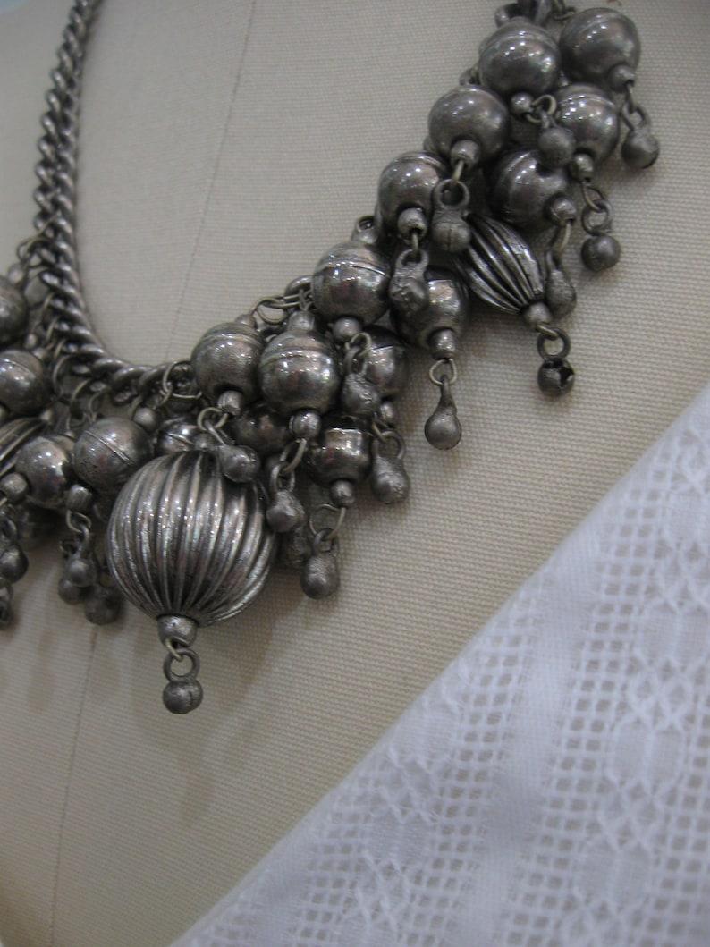 Vintage Silver Bobble Bells Necklace   Jingle Bells  Silver Chain  1970/'s  Silver Tone