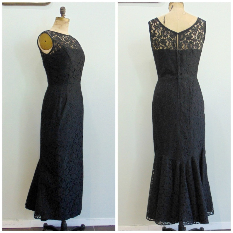 Vintage 1960's Black Lace Evening Dress / Mermaid Hem / image 0