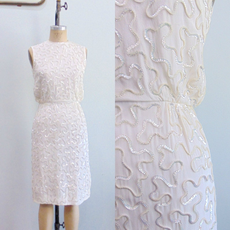 Vintage 1950's White Wiggle Dress / Sequined Squiggle image 0