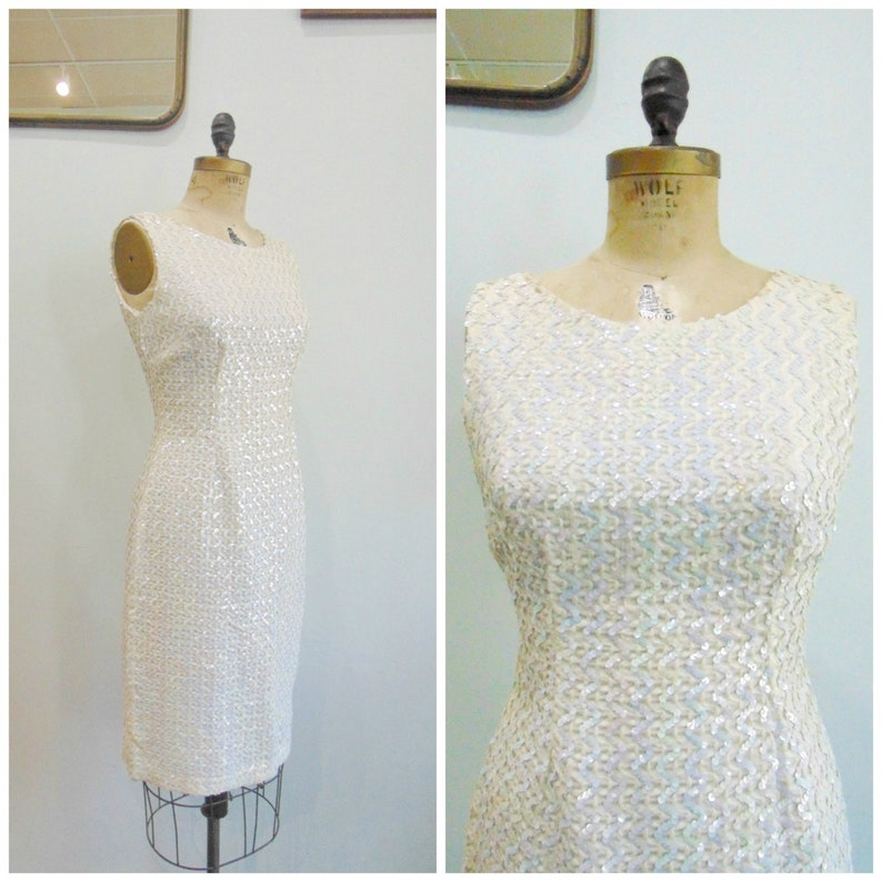 Vintage 1960's White Sequined Shift Dress / Cocktail Dress image 0