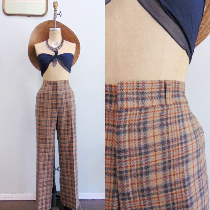 Vintage 1970's Plaid Trousers / Mens Haggar Pants / High image 0