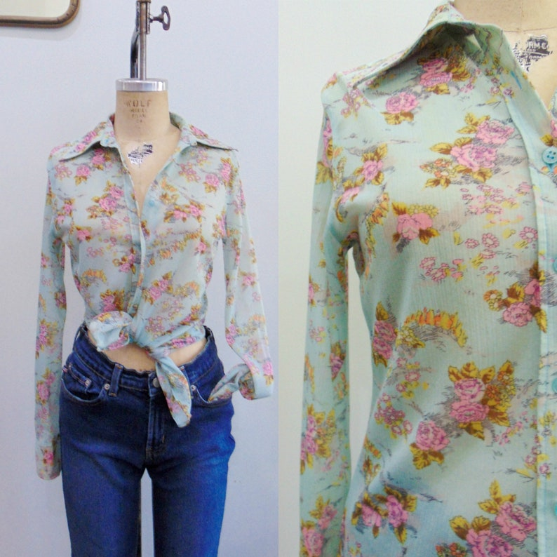Vintage 1970's Blue Floral Blouse / Button Down / Pink image 0