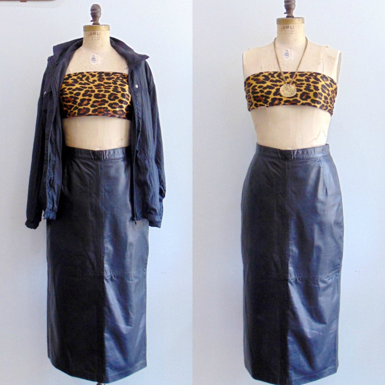 Vintage 1980's Black Leather Pencil Skirt / Midi Length / image 0