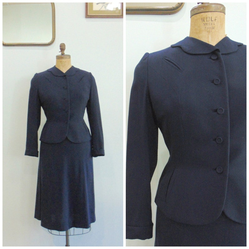 Vintage 1950's Navy Wool Skirt Suit / Two Piece Suit / image 0