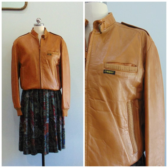 Vintage 1970/'s  1980/'s Leather Bomber Jacket  Camel Leather  Cooper  Outerwear  Leather Jacket  Size Small  Medium