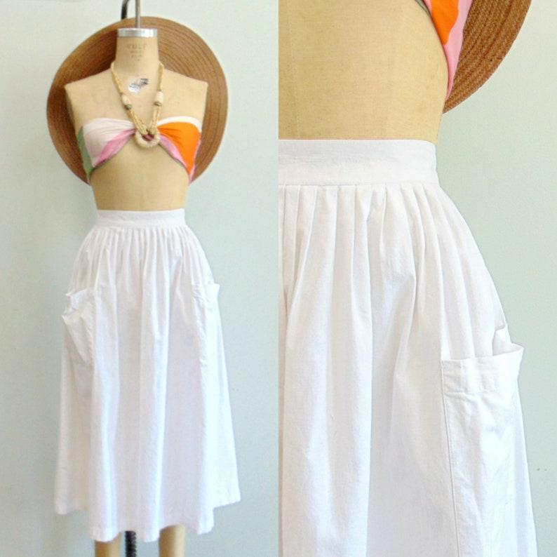 Vintage 1980's White Midi Skirt / Full Hip Skirt / image 0