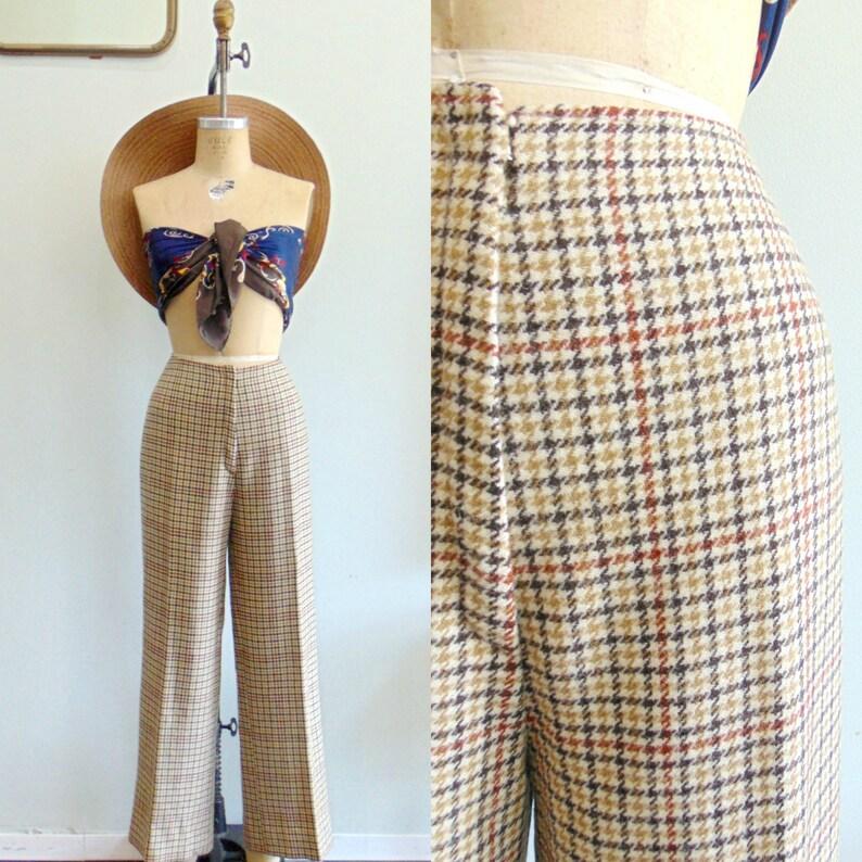 Vintage 1970's Wool Plaid Pants / High Rise Trousers / Tan image 0