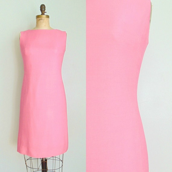 Vintage 1960's Pink Shift Dress / Cotton Candy Pin