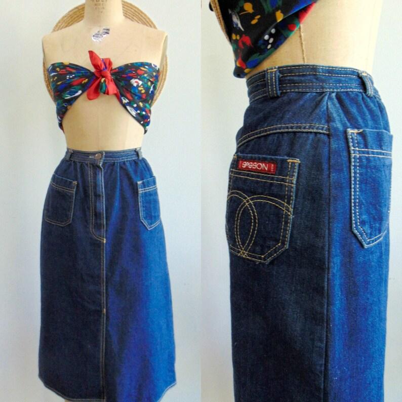 Vintage 1980's Denim Skirt / Dark Denim Sasson Knee Skirt image 0