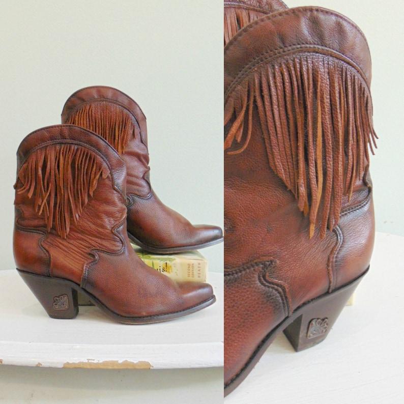 Vintage 1980's Fringe Booties / Leather Western Style / image 0
