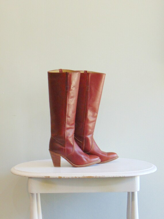 2968e9ec06f0 Vintage 1970 s Frye Boots   Cowboy Style   Size 7   Cognac