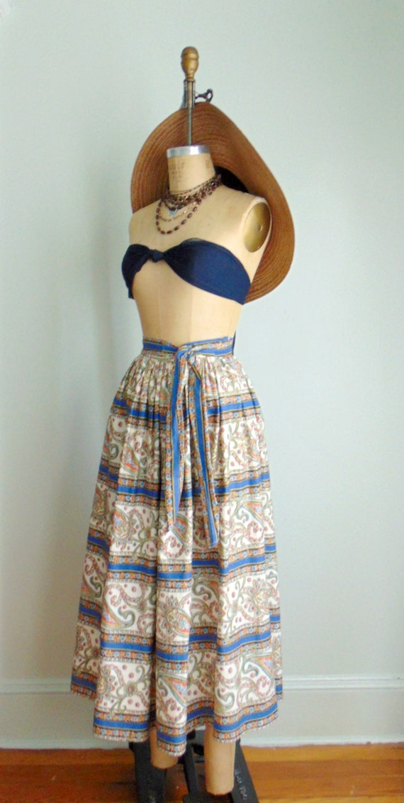 Vintage 1960's Paisley Print Skirt / Midi Length … - image 8