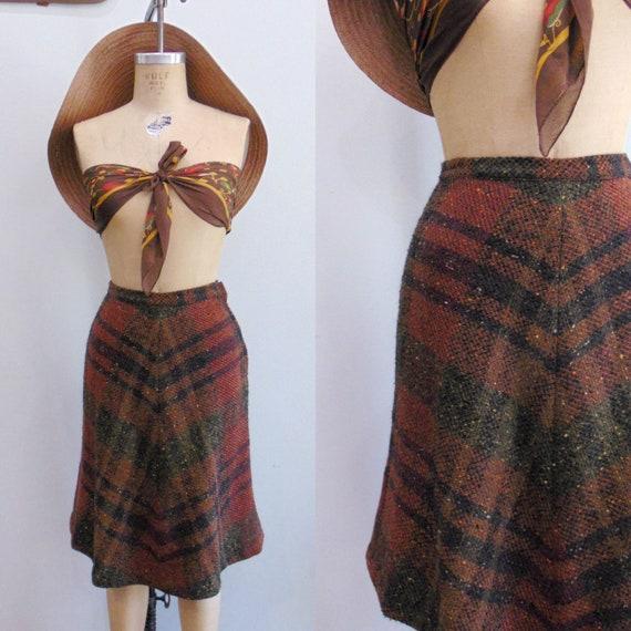 Vintage 1960's Plaid Skirt / Blanket Skirt / Rust