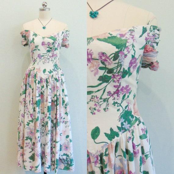 Vintage 1980's Floral Sundress / Off the Shoulder