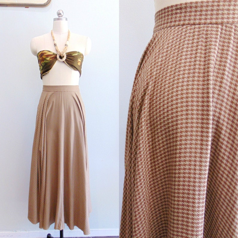 Vintage 1980's Hounds tooth Skirt / Brown and Brown Check image 0