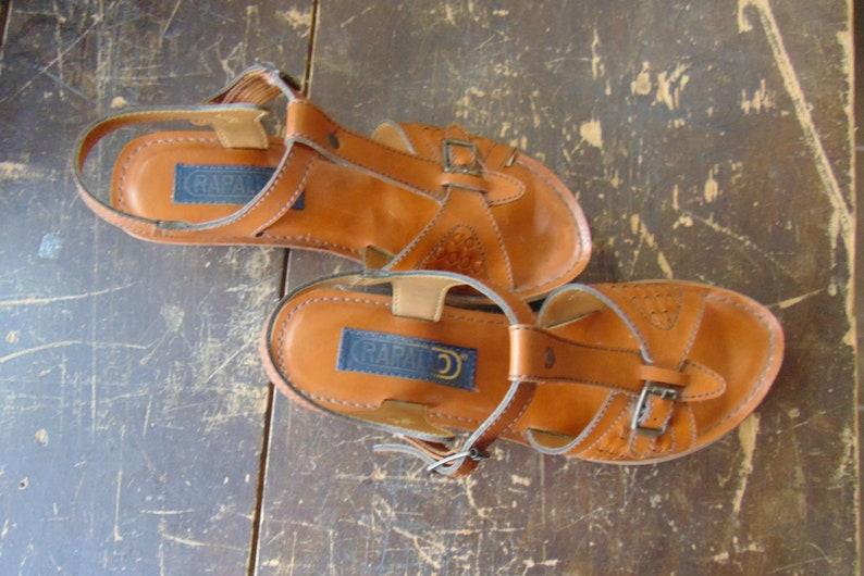 1970's Rapallo T-Strap Cognac Colored Sandals / Wedge / image 0