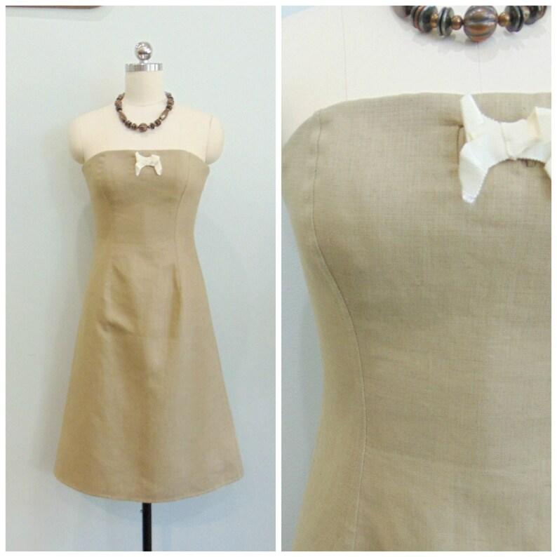 Bill Blass Strapless Dress / Linen Cocktail Dress / Couture / image 0