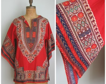 1960's Red Tribal Print Tunic// Cotton// Made in Pakistan// Hippie Top