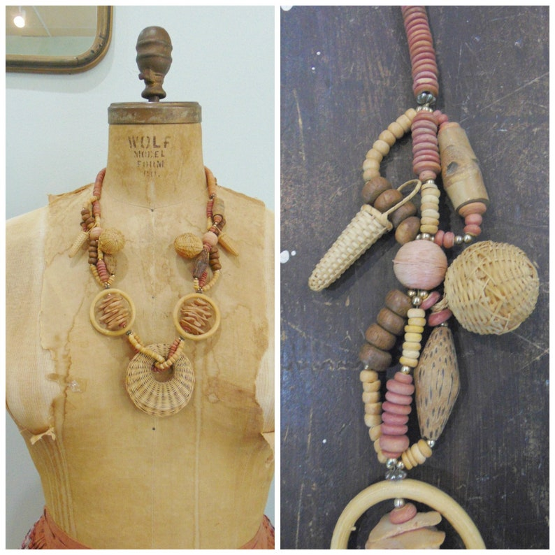 Vintage 1970's Wicker Necklace / Bobble / Toggle / Disc image 0