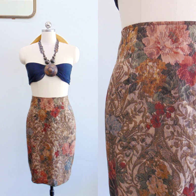 Vintage 1980's Floral Pencil Skirt / Brown Rose Flower image 0
