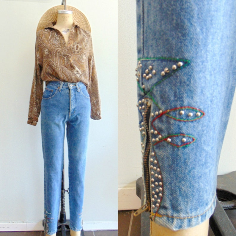 Vintage 1980's High Rise Jeans / Skinny Jeans / Zippered image 0