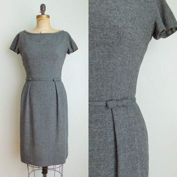 Vintage 1960's Charcoal Gray Wiggle Dress / Harvey