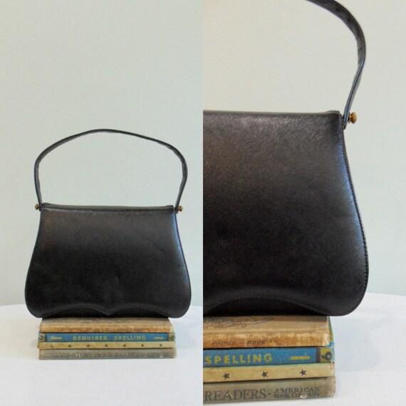 Vintage Black Handbag / 1950's / 1960's / Saffiano