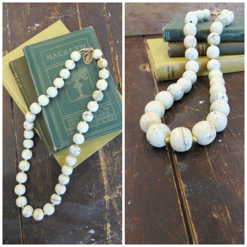 Vintage Stone Bead Necklace / 1980's / Natural Materials / image 0