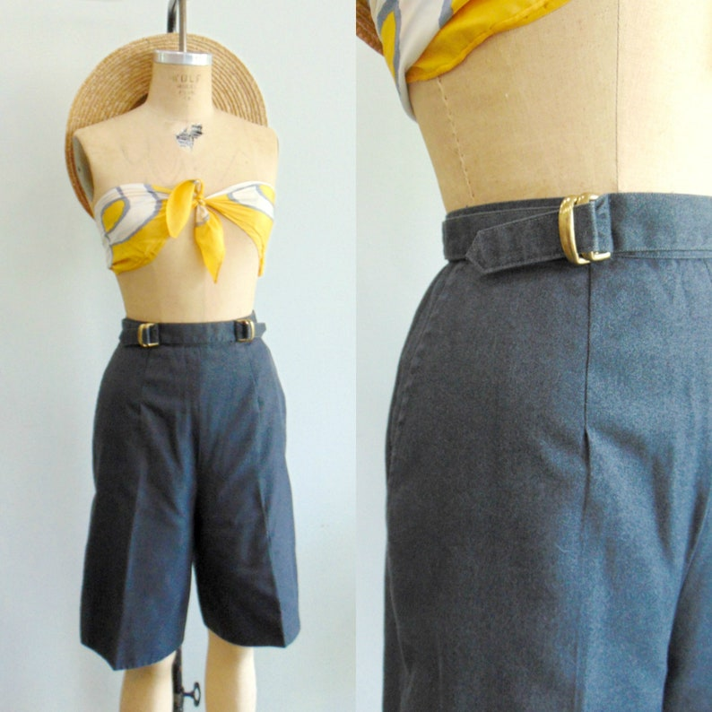 Retro 1980's High Waist Shorts / Charcoal Gray Cotton / image 0