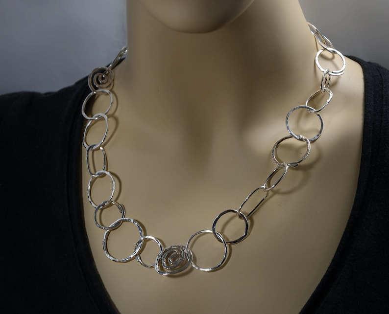 oval circles and spirals  Jewelry Handmade Sterling Silver Necklaces one of a kind