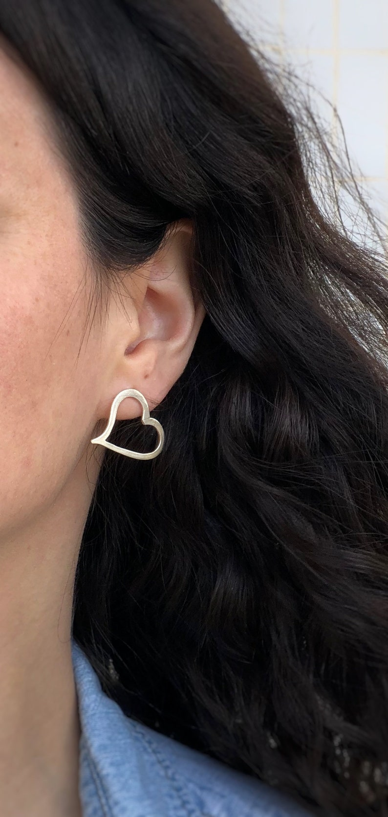 Love Heart silver studs Silver Heart post earrings Open heart earrings Asymmetrical Heart Silver heart earrings Stud heart earrings