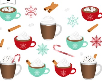 Digital Clipart-Christmas Cocoa-Hot Chocolate-Holiday Clipart-Christmas-Cinnamon Sticks-Peppermints-Scrapbooking-Instant Download Clip Art