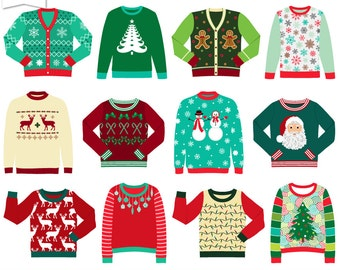 Ugly Christmas Sweater Clipart-Commercial Use-Digital Clip Art Clothes-Tacky Sweater-Holiday-Transparent Background-PNG-Digital Scrapbook
