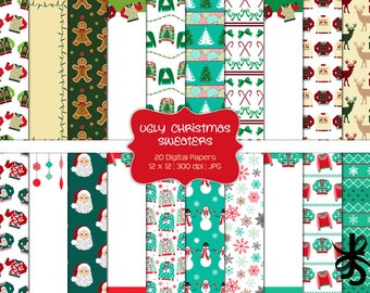 789484467 Ugly Christmas Sweaters-Commercial Use-Digital Papers-Holiday-Tacky Sweater -Santa-Snowman-JPG-Digital Scrapbook-Instant Download
