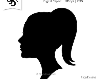 36f56edb9 Digital Clipart-Clipart Singles-Girl Silhouette-Cameo-Female Face-Profile-Image-Digital  Scrapbook Element-PNG-Instant Download Clip Art