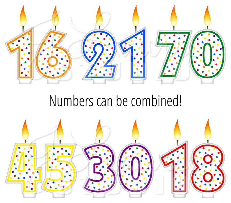 Digital Clipart Birthday Candles Number Rainbow