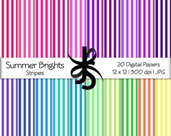 Digital Scrapbook Papers-Summer Brights Stripes-Striped Patterns-Pink-Blue-Bright Colors-Wallpapers-Backgrounds-Instant Download Clip Art