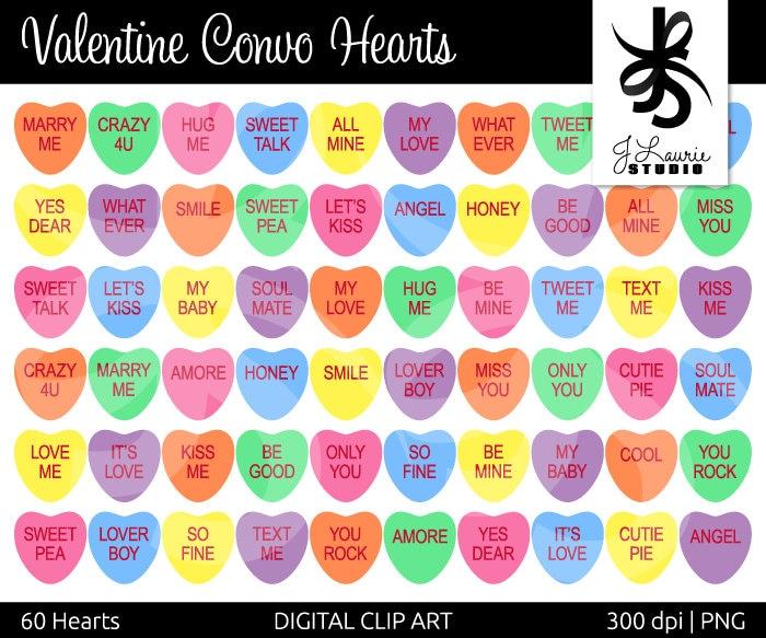 Digital Clipart Hearts Valentine Convo Hearts Conversation Etsy