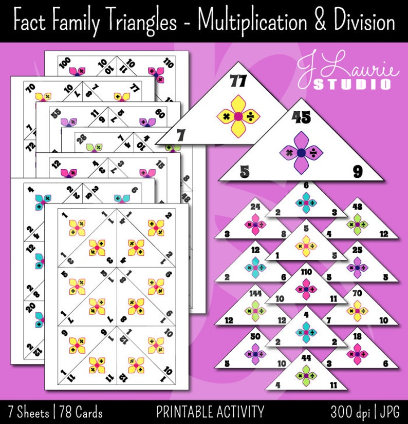 picture relating to Printable Multiplication Flashcards called Reality Household Traingles-Multiplication-Office-Math Flashcards-Schooling-Instructors-Math Printables-Finding out-Flash Playing cards-Quick Obtain
